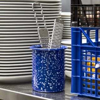 Enamel Utensil Holder - Speckle Blue