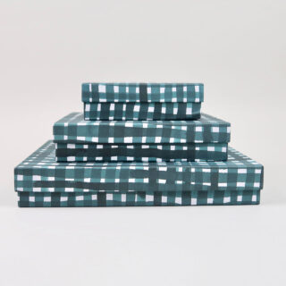 Green Storage Boxes covered in Gabriela Trzebinski for Black Bough Paper