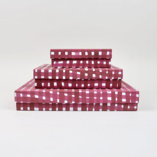 Plum Storage Boxes covered in Gabriela Trzebinski for Black Bough Paper