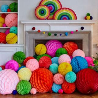Honeycomb Paper Balls - 8cm Diameter - Pastel Rainbow Pack of 10