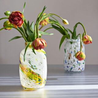 Hand Blown Splash Vase - Roll Neck Medium