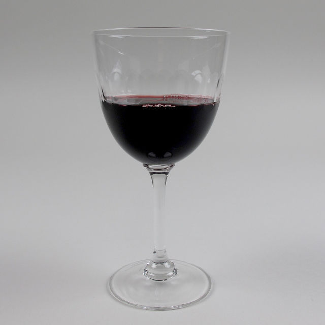 Wine Glass with etched 'Lens' Design