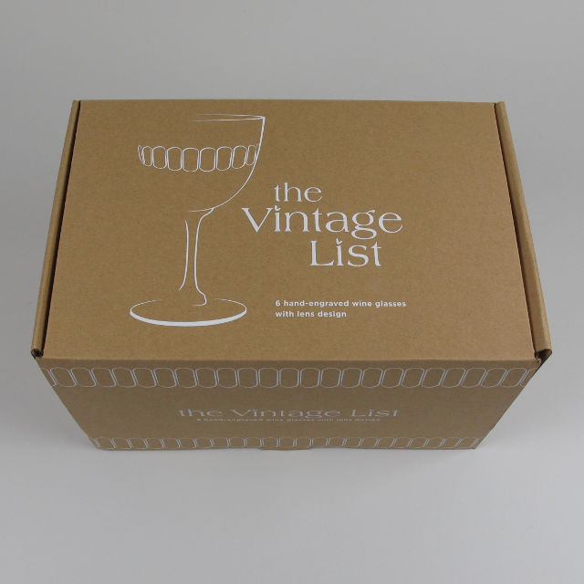 Box of 6 Etched 'Lens' Design Wine Glasses