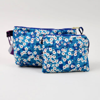Liberty Print Fabric Cosmetic Bag - Mitsi Blue