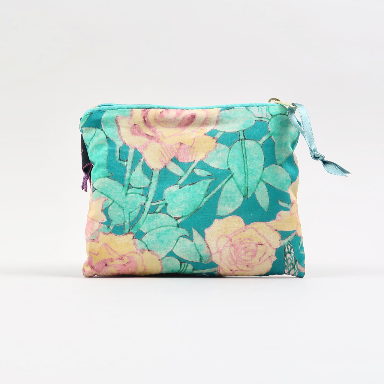 Liberty Print Fabric Purse - Anna's Garden Teal