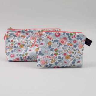 Liberty Print Fabric Cosmetic Bag - Betsy Coral