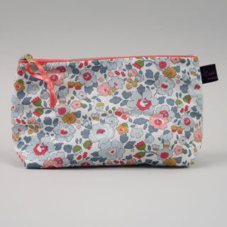 Liberty Print Fabric Cosmetic Bag - Betsy Coral