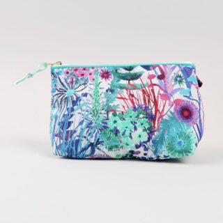 Liberty Print Fabric Cosmetic Bag - Tresco Aqua