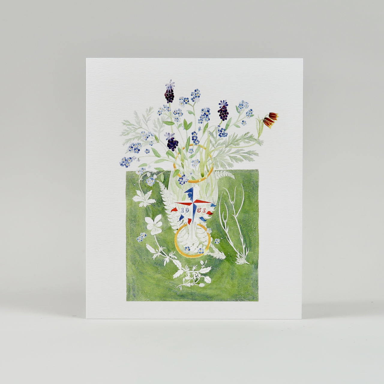 Festival of Britain Glass with Spring Flowers Greetings Card by Angie Lewin