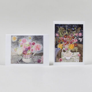 Angie Lewin Notecard Set: Dahlias, Dark Sky & Late Summer Flowers and Ferns