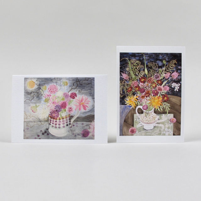 Angie Lewin Notecard Set: Dahlias, Dark Sky & Late Summer Flowers and Ferns