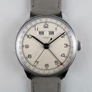 Arbu circa 1950   steel and chromed triple calendar wristwatch
