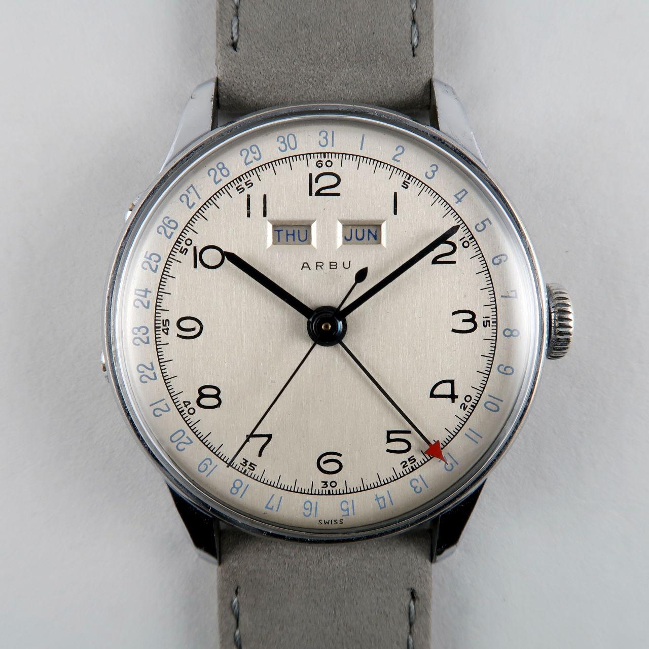 Arbu circa 1950 | steel and chromed triple calendar wristwatch