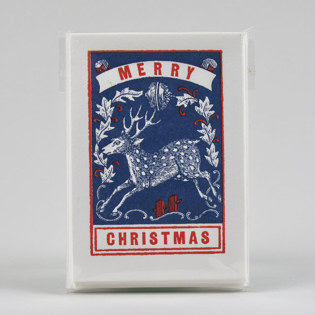 Pack of 5 Merry Christmas Stag Cards