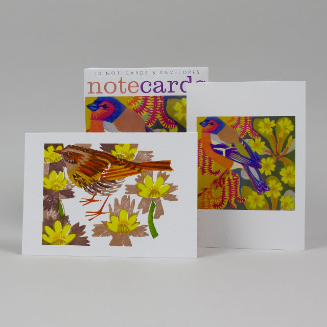 Pack of 10 Notecards by Matt Underwood - Catkins and Primroses, Dunnock among Aconites