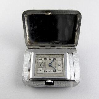 Asprey silver travelling watch, hallmarked 1937