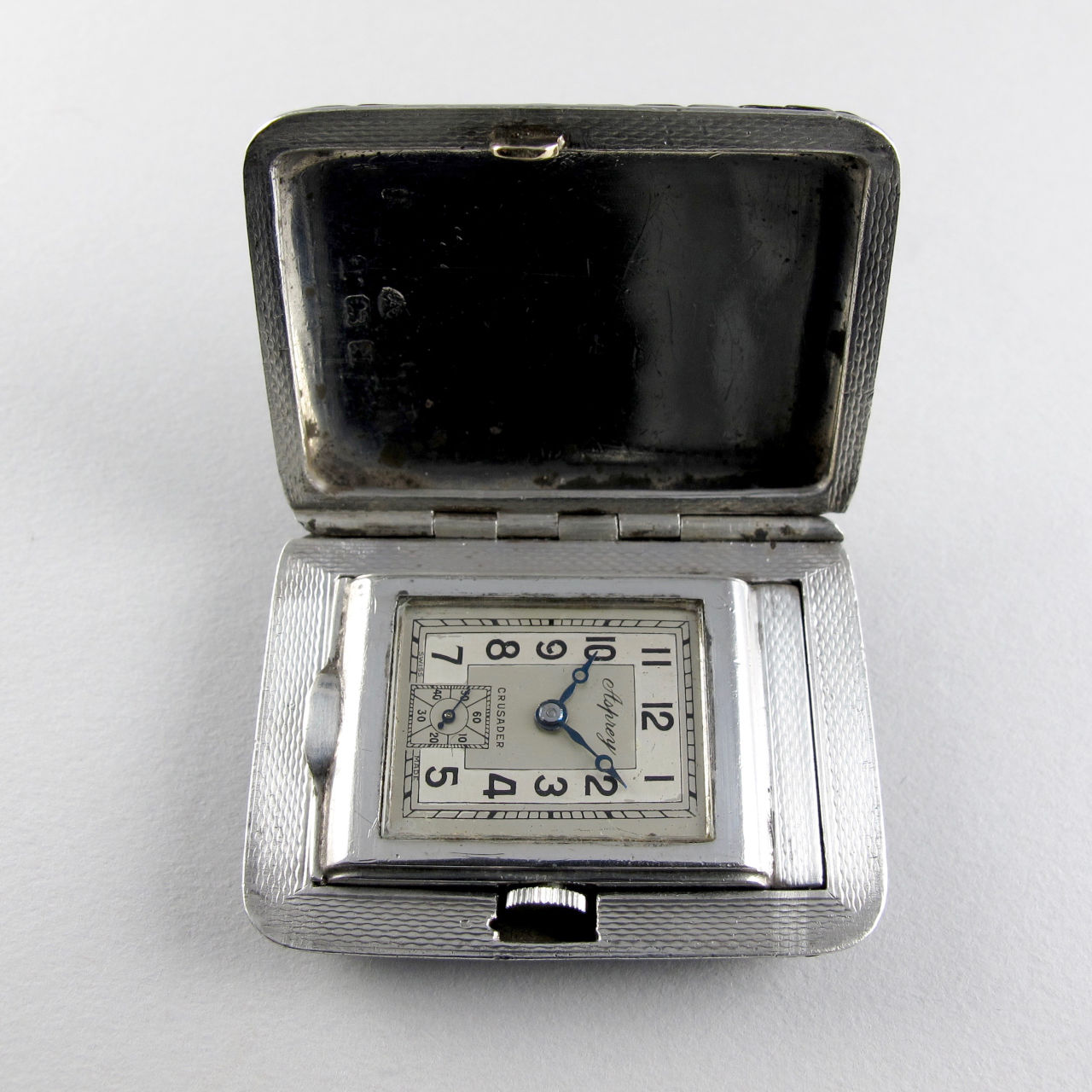 Asprey silver travelling watch, hallmarked 1937
