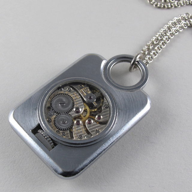 Steel asprey vintage pendant watch circa 1945 black bough ludlow steel asprey vintage pendant watch mozeypictures Images