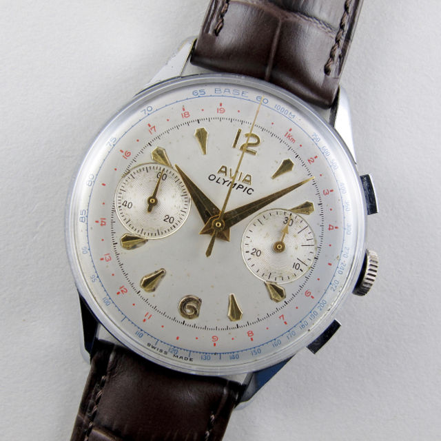 Avia Olympic steel and chrome vintage chronograph wristwatch, circa 1955 - main image