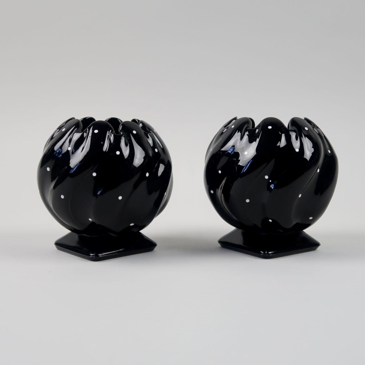 Pair of Bagley Polka Dot Glass Vases