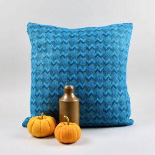Wool Cushion with Woven Chevron Pattern