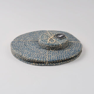 Set of 4 Woven Jute Coasters - Cornflower Blue