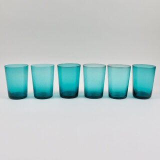 Boxed Set of 6 Recycled Glass Tumblers - Petrol Blue