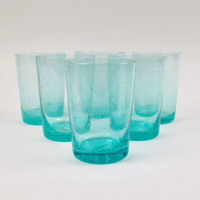 Boxed Set of 6 Recycled Glass Tumblers - Turquoise Blue