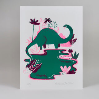 Dinosaur Screen Print in Hot Pink and Green