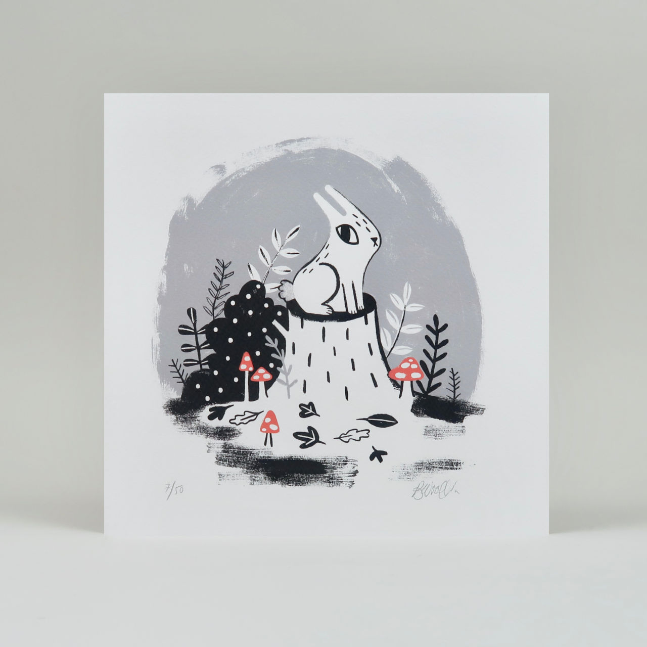 Forest Bunny Vignette Print
