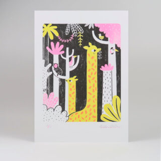 Giraffe Risograph Print in Hot Pink and Yellow