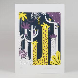 Giraffe Screen Print in Purple and Yellow