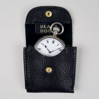 black leather pocket watch pouch made in England