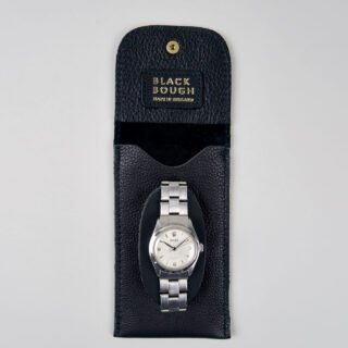 Black leather wristwatch pouch