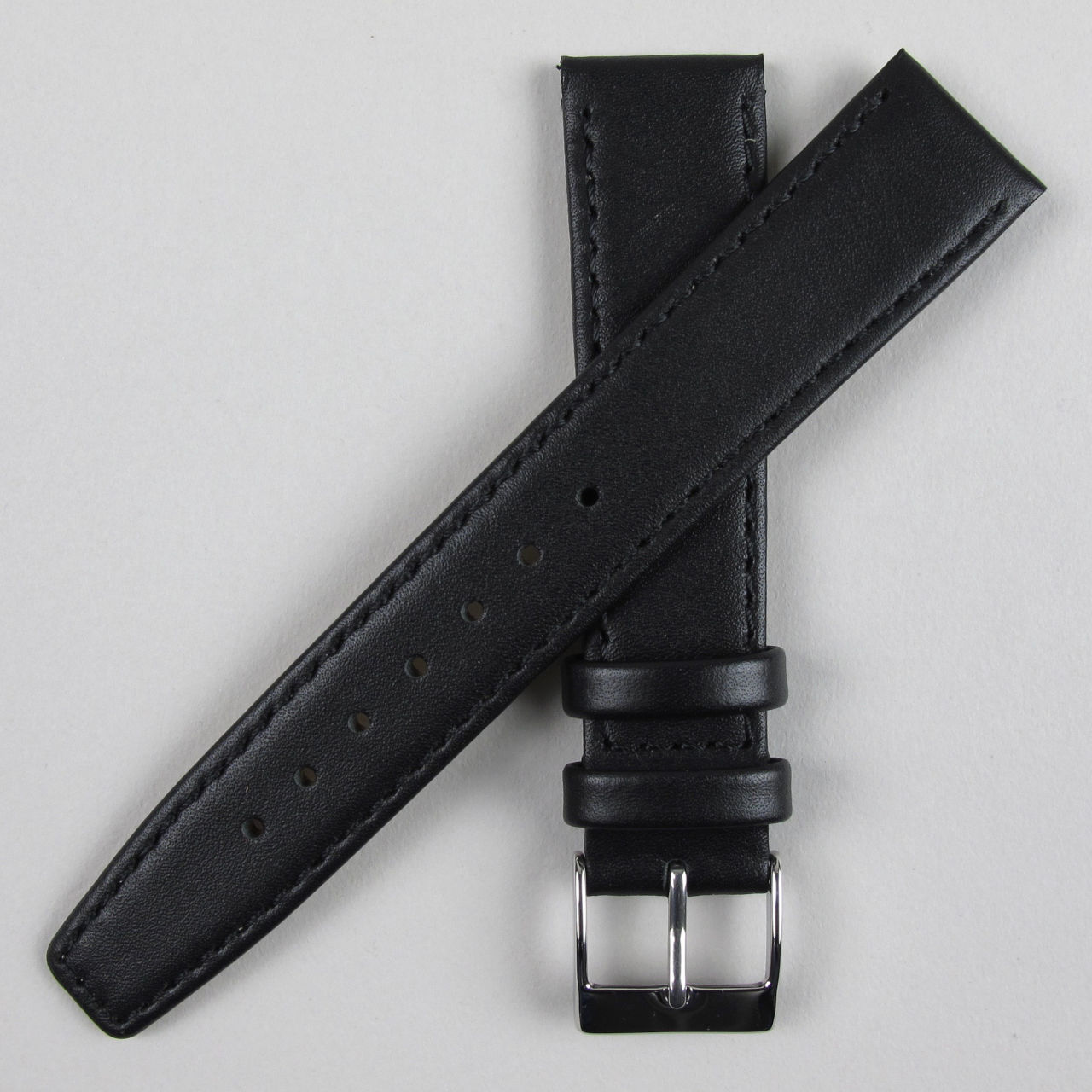 Black smooth leather watch strap | 8mm - 22mm