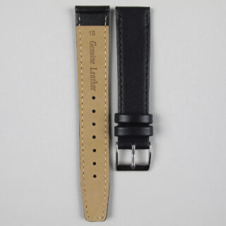 Black smooth calf leather watch strap 8mm - 22mm