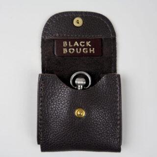 Dark brown leather pocket watch pouch