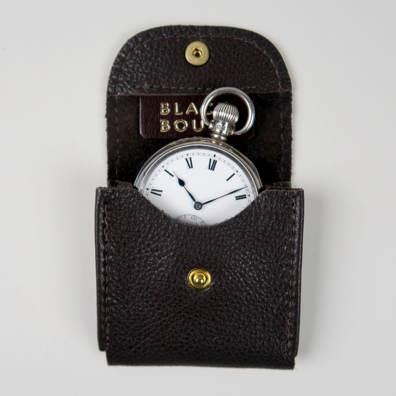 Dark brown leather pocket watch pouch