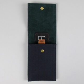 Black Bough canvas and suede single wristwatch pouch