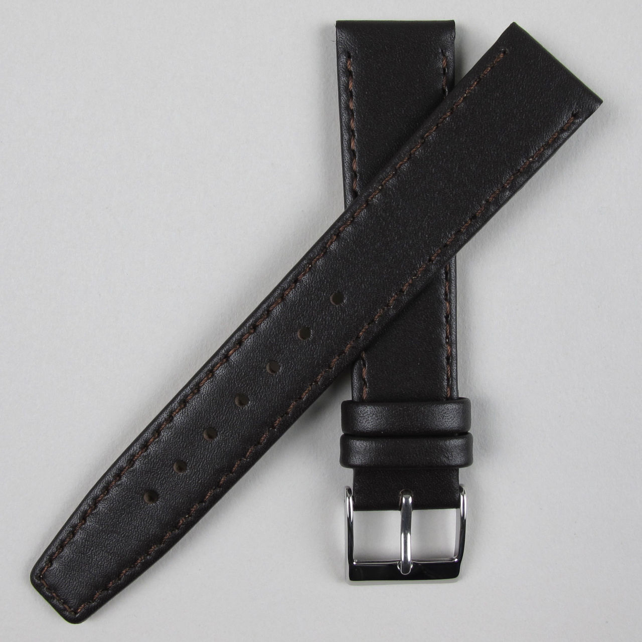 Dark brown smooth leather watch strap | 8mm - 22mm