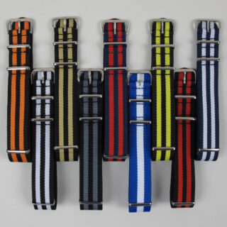 NATO two-colour striped nylon watch straps with polished buckle | 18mm-22mm