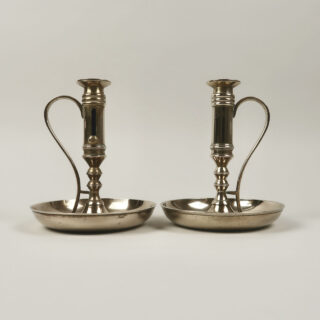 Brass Candle Holder with Handle and Drip Tray