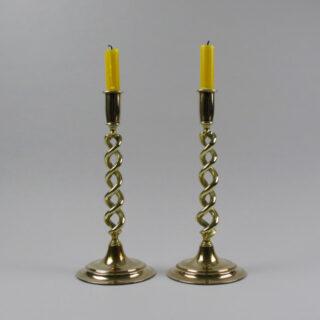 brass double twist candlesticks 2