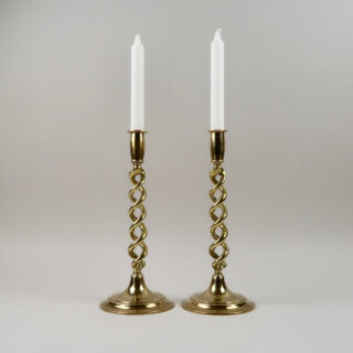 Pair of Brass Twist Candlesticks