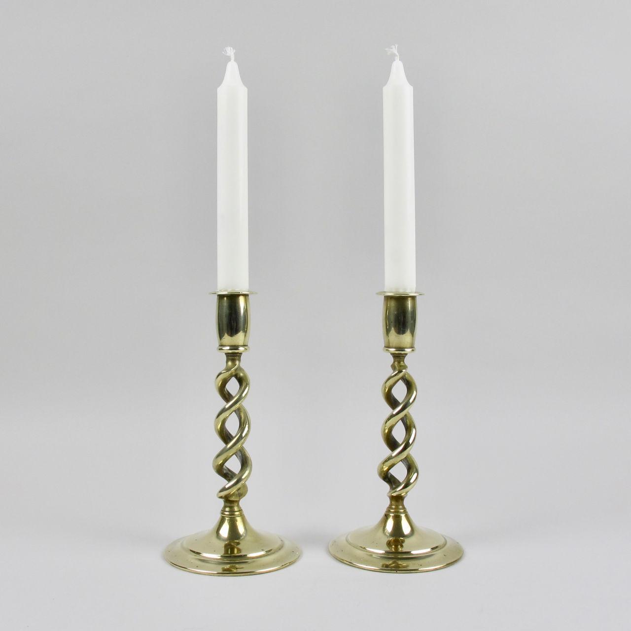 Pair of Brass Short Twist Stem Candlesticks