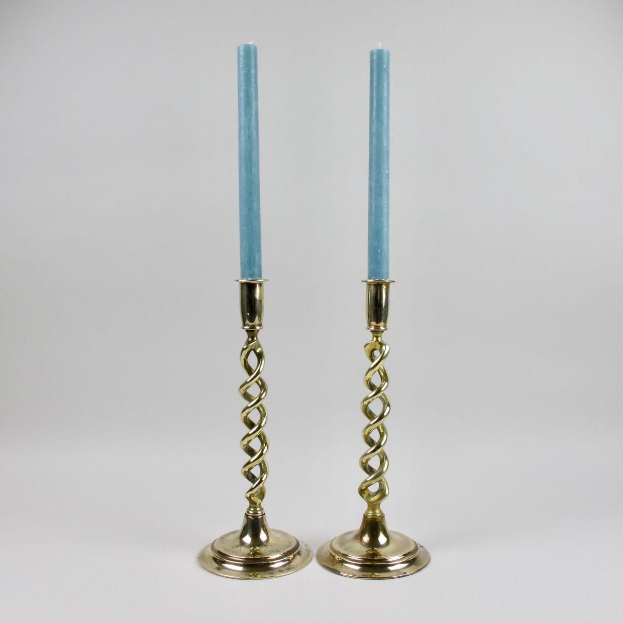 Pair of Tall Brass Twist Stem Candlesticks