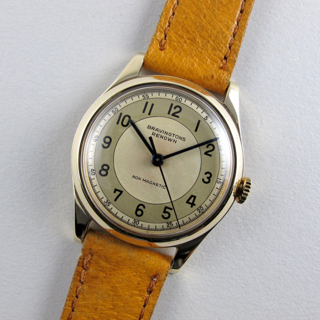 Bravingtons Renown gold vintage wristwatch, hallmarked 1954
