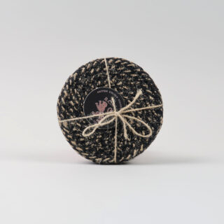 Set of 4 Woven Jute Coasters - Jet Black