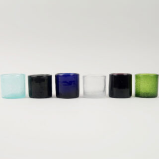 Set of 6 Coloured Glass Tea Lights - Smoke