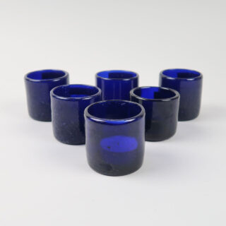 Set of 6 Coloured Glass Tea Lights - Cobalt